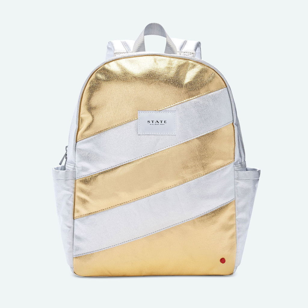 State Bags Kane Backpack in SIlver & Gold Quilted Metallic
