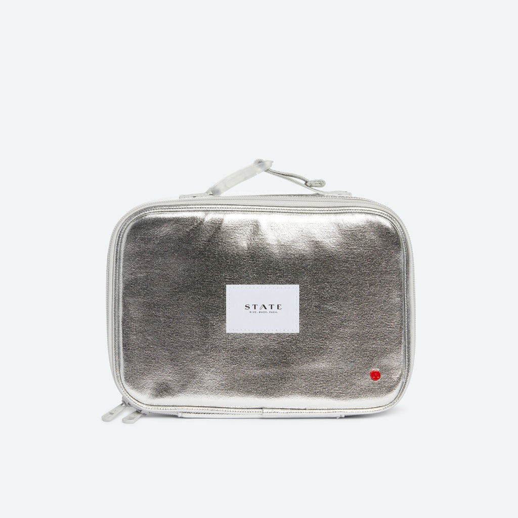 State Bags Rodgers Lunch Box in Metallic Silver