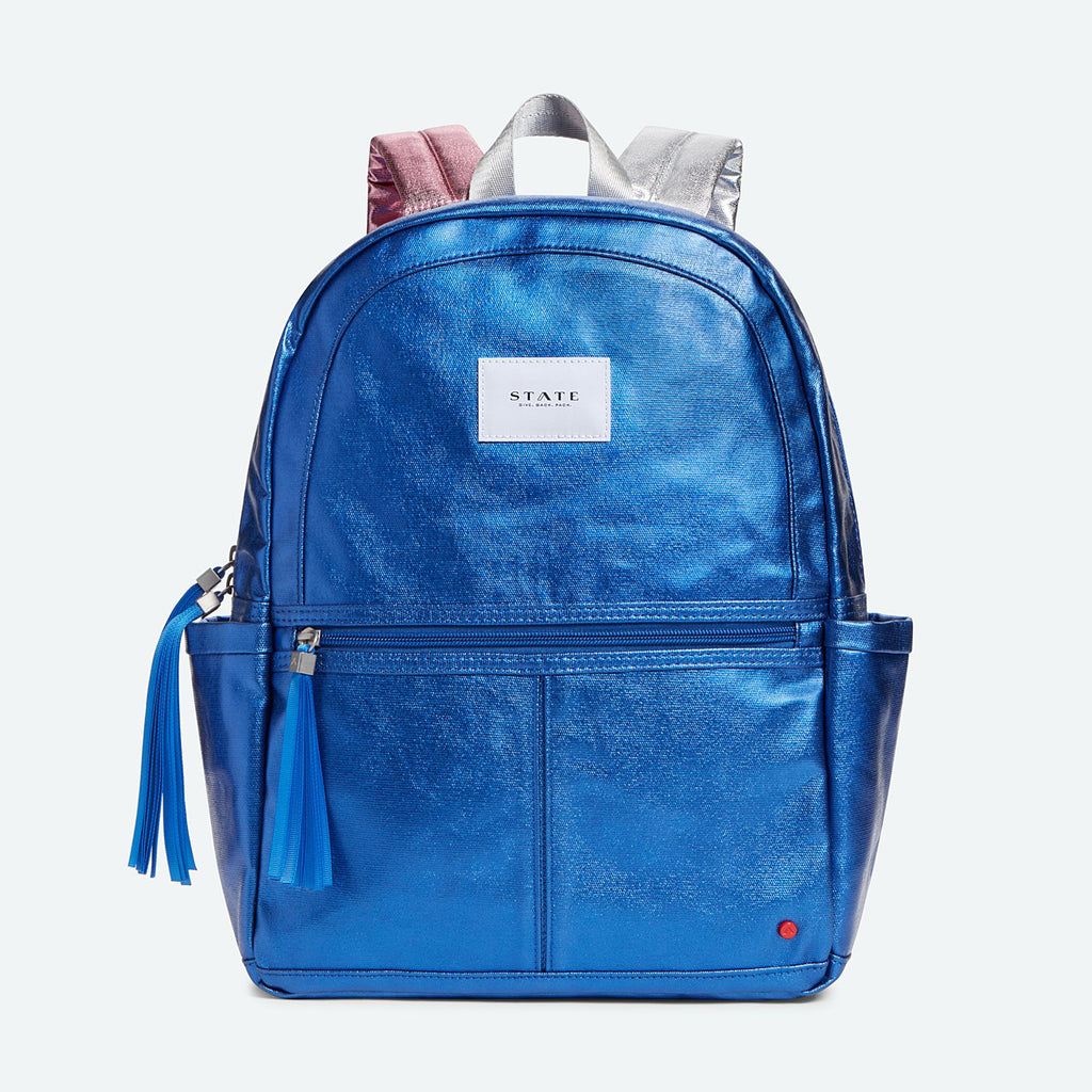 state bags kane backpack in metallic blue