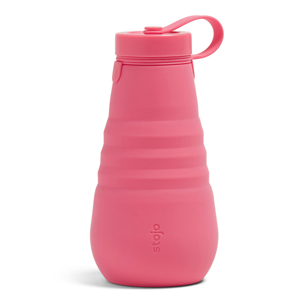 stojo 20 ounce reusable silicone bottle with leakproof lid in peony pink expanded