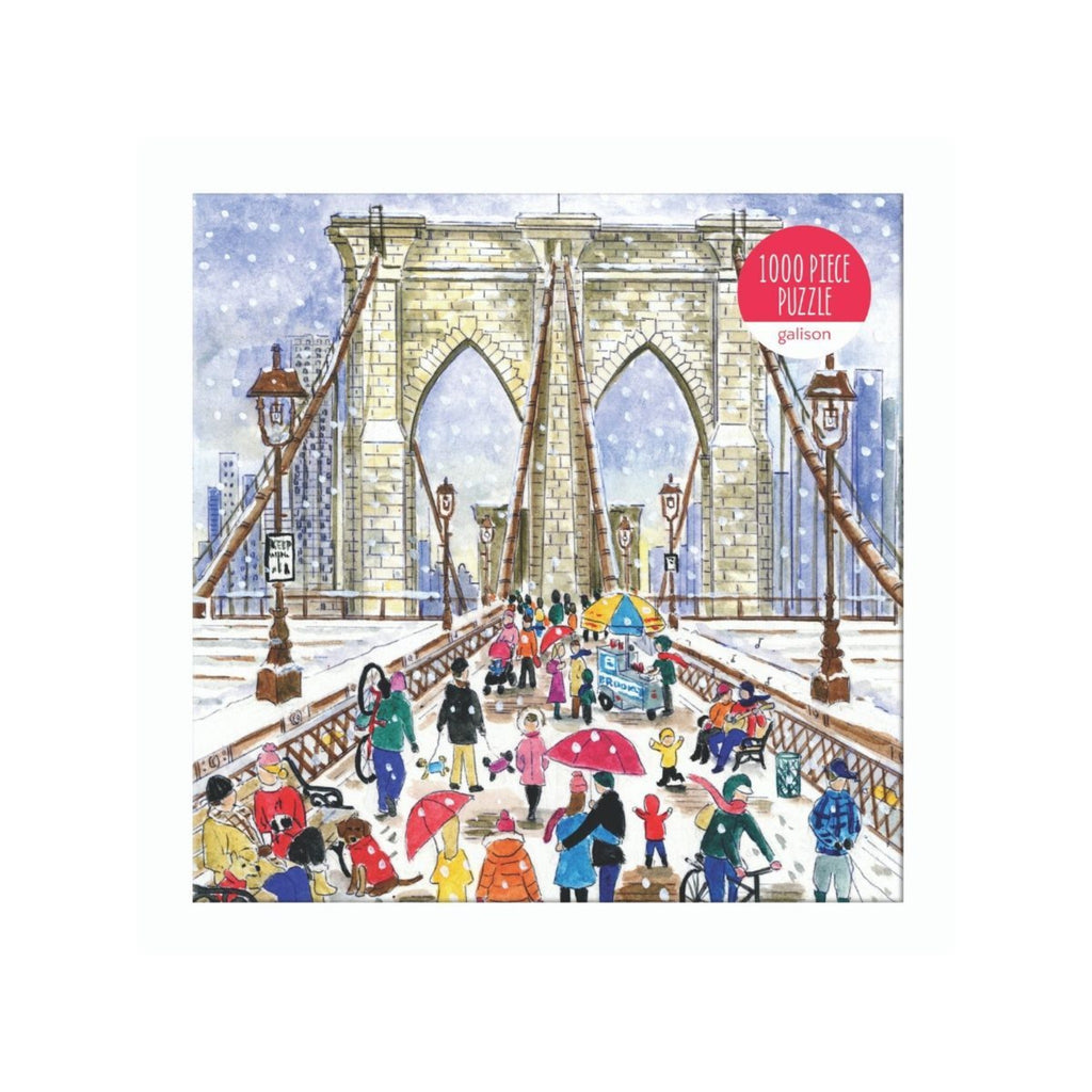 jigsaw puzzle box with illustration of people walking across the brooklyn bridge in snow