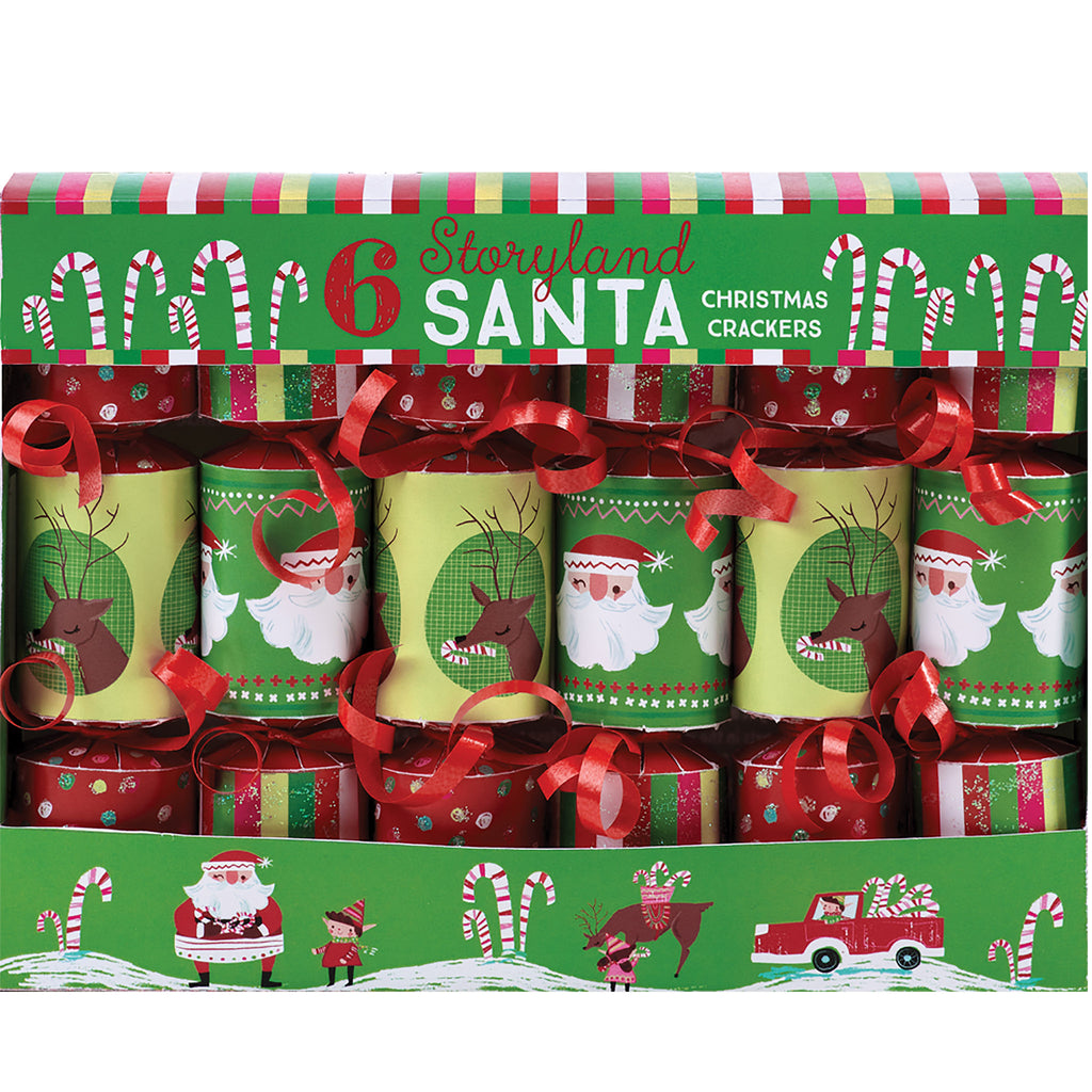 set of 6 christmas crackers in green and red with illustrations of santa and reindeer