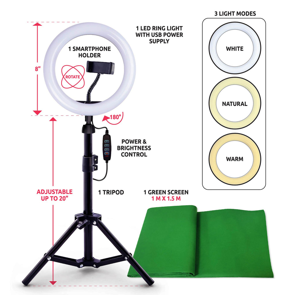 contents of studio creator kit, including a tripod with ring light, smartphone holder, and power and brightness controller, green screen, and illustration of three light modes