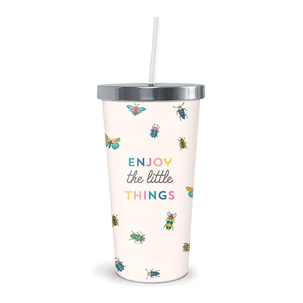 studio oh! enjoy the little things insulated stainless steel reusable tumbler with straw and lid