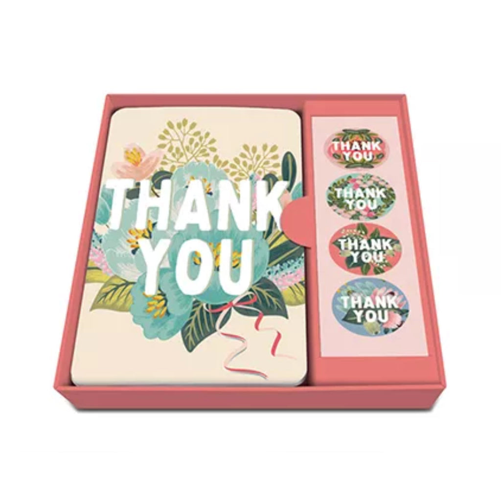 studio oh! flower field floral blank thank you note card set with stickers and envelopes in packaging