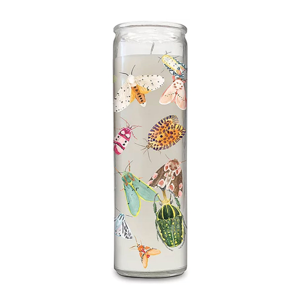 studio oh nothing bugs me citronella marigold prayer candle with insect illustrations on the outside