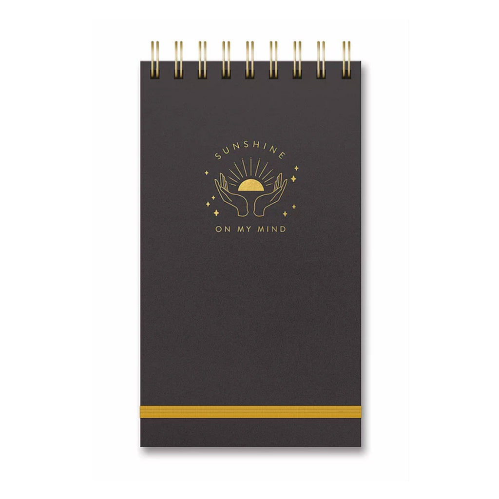 studio oh! sunshine on my mind leatheresque metallic black top spiral bound notebook