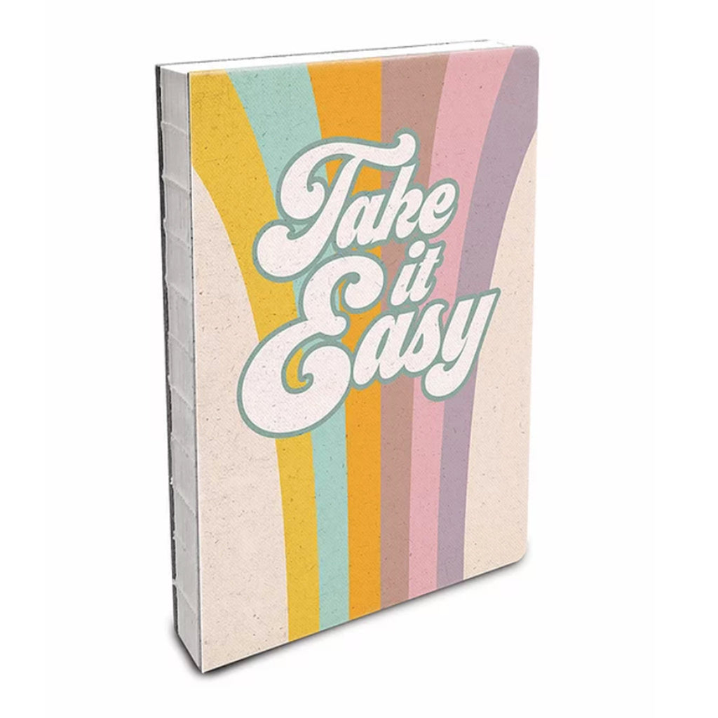 studio oh! take it easy deconstructed journal notebook with exposed spine rainbow striped cover