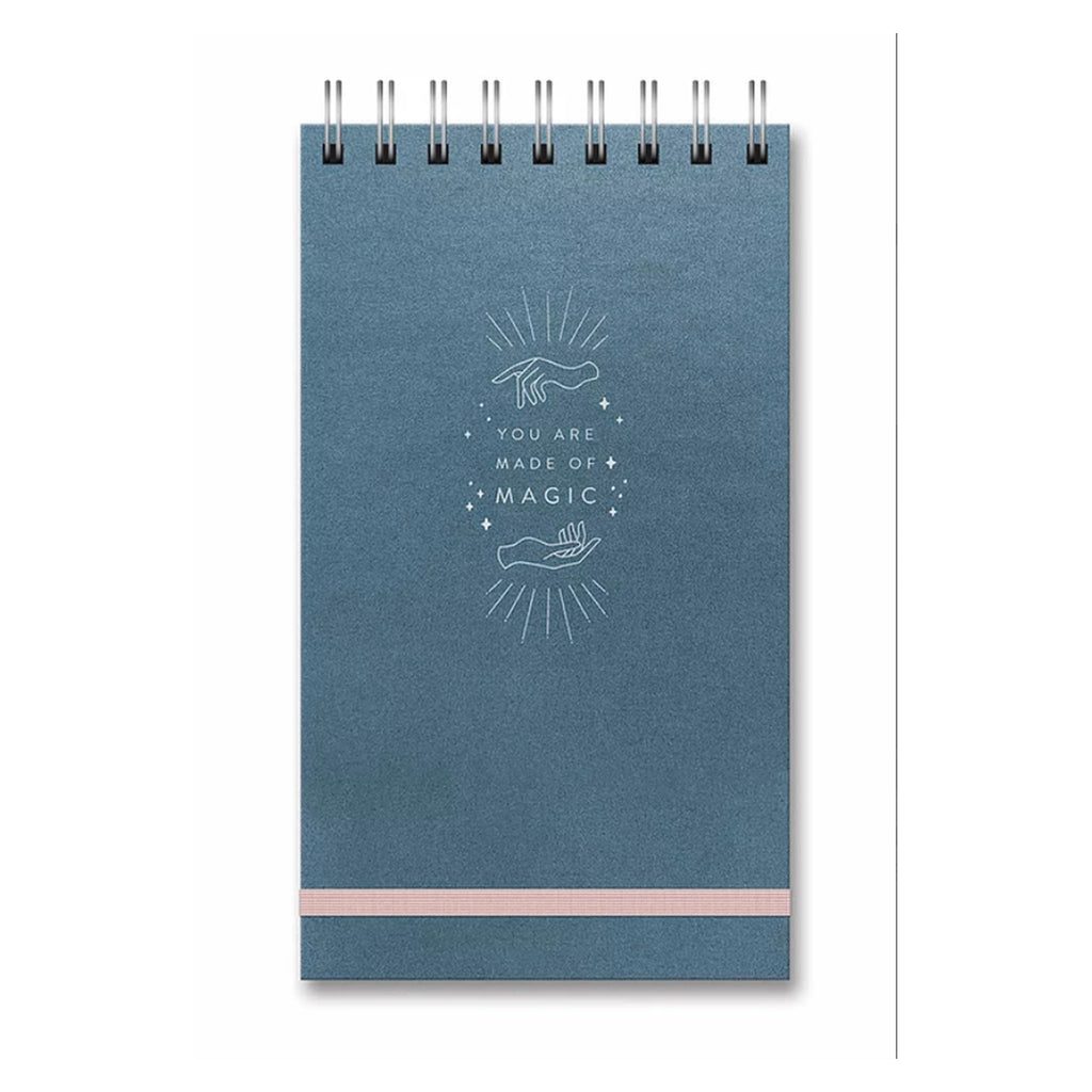 studio oh! you are made of magic leatheresque metallic blue top spiral notebook