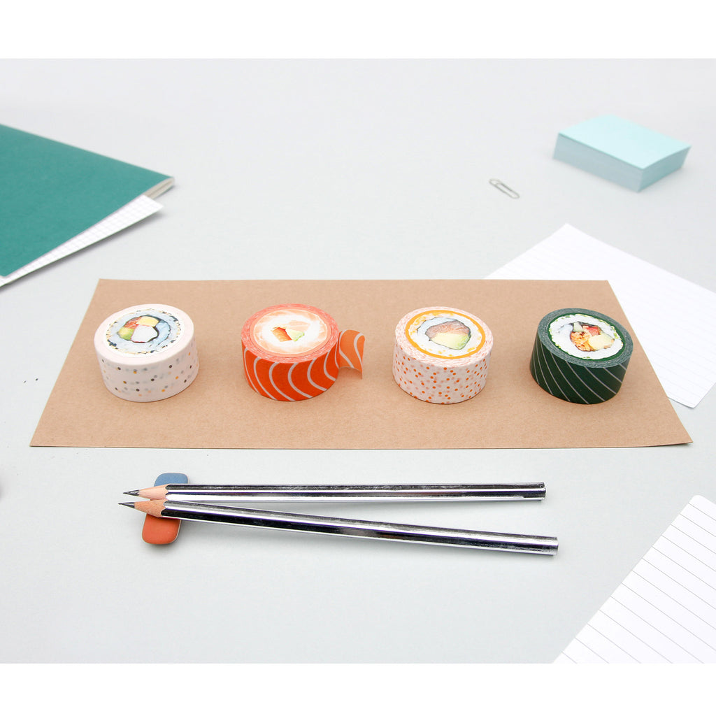 sushi decorative paper washi sticky tape rolls on brown paper