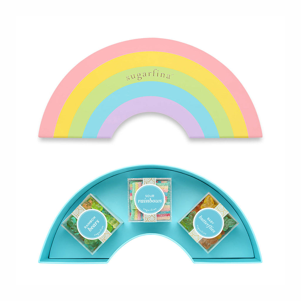 sugarfina 3 piece gummy candy rainbow bento box set open with top and bottom with candy cubes