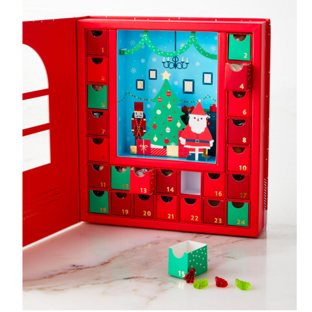 detail of sugarfina advent calendar with drawers for each day