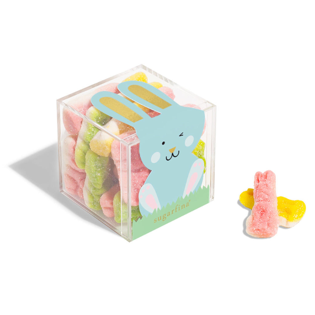 sugarfina tart fruity flavored multicolored fluffy soft bunny gummies easter candy in blue bunny box on angle