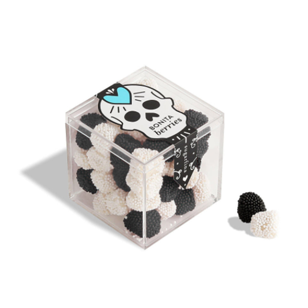 sugarfina bonita berries blackberry and champagne flavored non-pareils adult halloween candy in box with skull and heart
