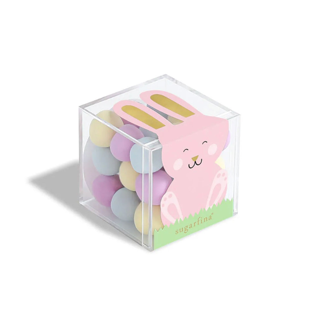 sugarfina bunny tails pastel mints easter candy in a candy box with a pink bunny shot on an angle
