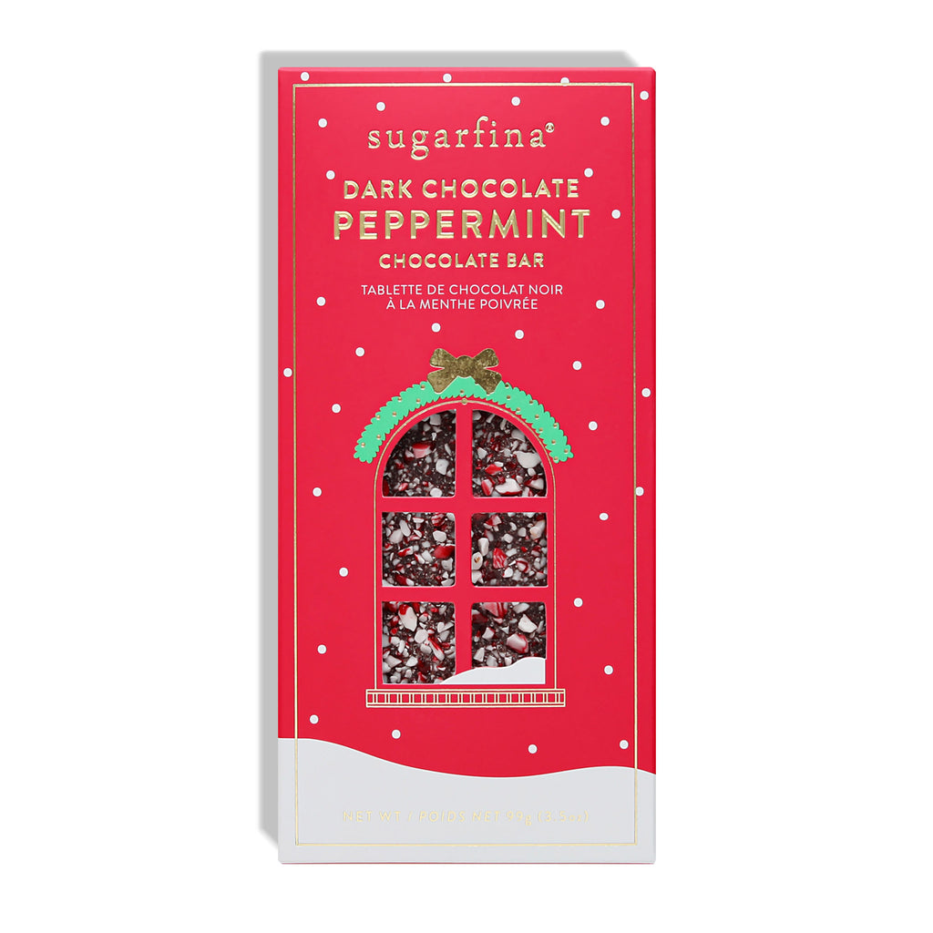 sugarfina dark chocolate peppermint bark bar holiday christmas candy box front 2020