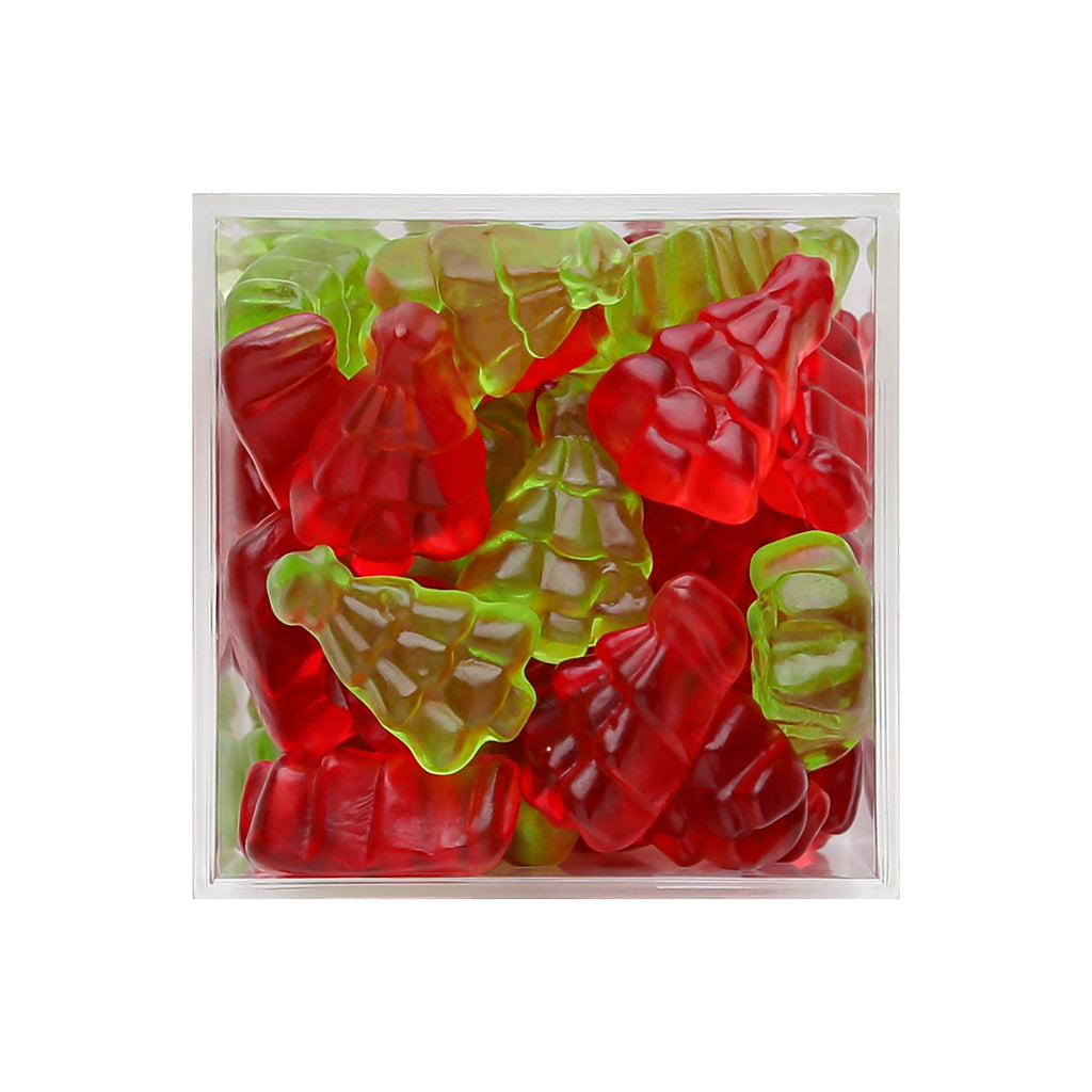 sugarfina santas trees raspberry green apple flavored red green christmas trees gummies holiday candy box detail 2020