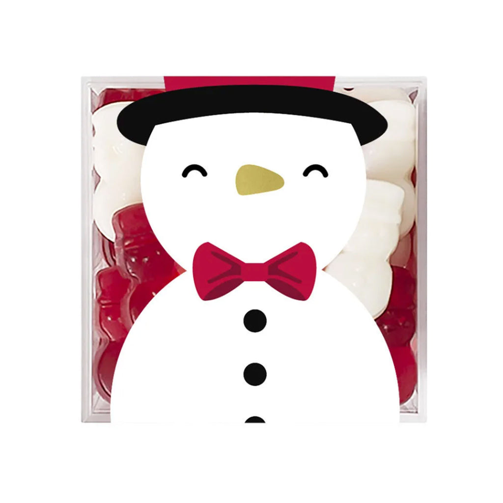 sugarfina strawberry flavored red white snowman gummies holiday candy box top