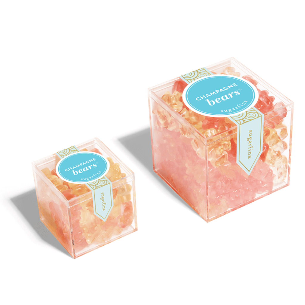 sugarfina champagne bears gummy candy large and small box