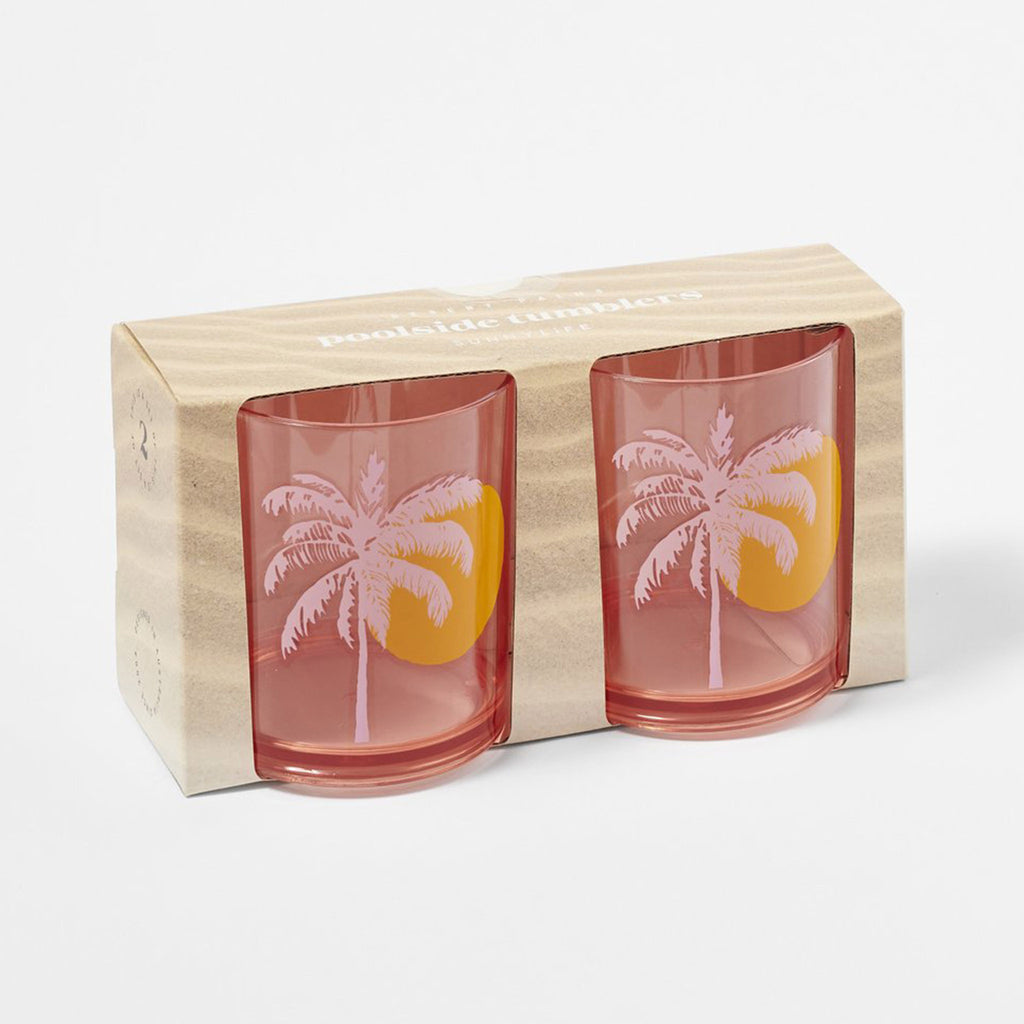 sunnylife desert palms poolside tumblers reusable plastic set of two pink beverage cups in packaging