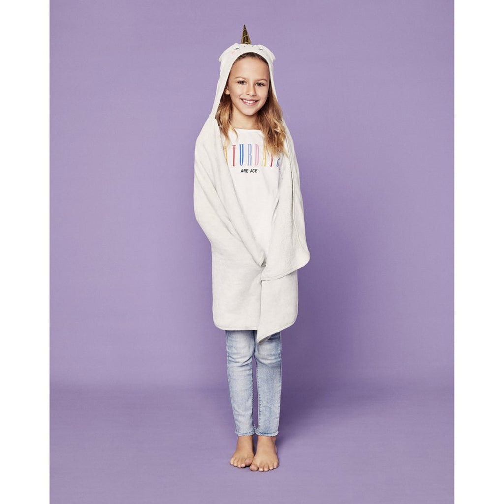 sunnylife kids unicorn hooded bath towel front view on model