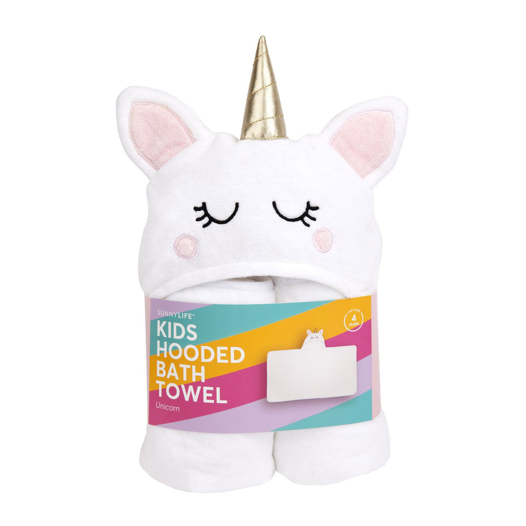 sunnylife kids unicorn hooded bath towel in packaging