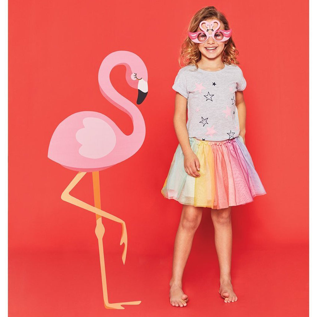 kids flamingo sunglasses on model