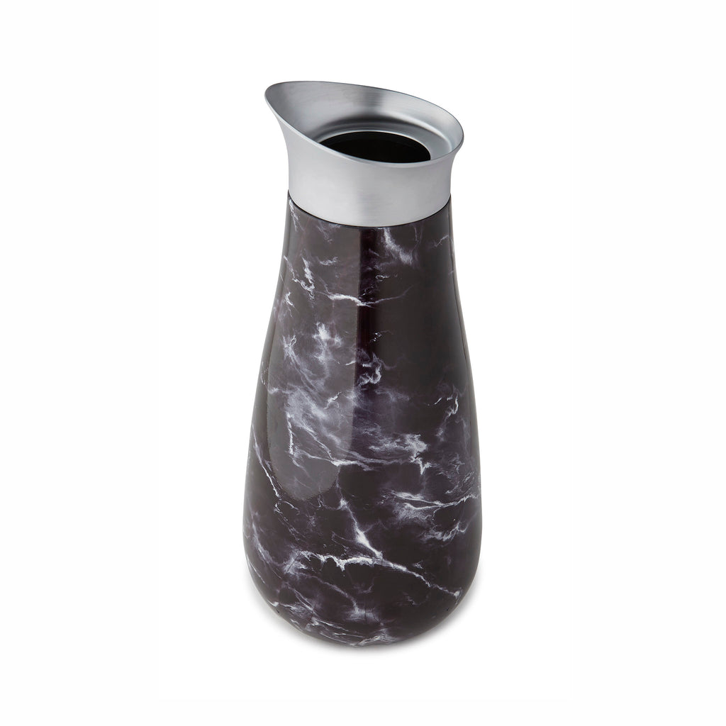 swell black marble insulated 51 ounce serving carafe top view with easy pour spout