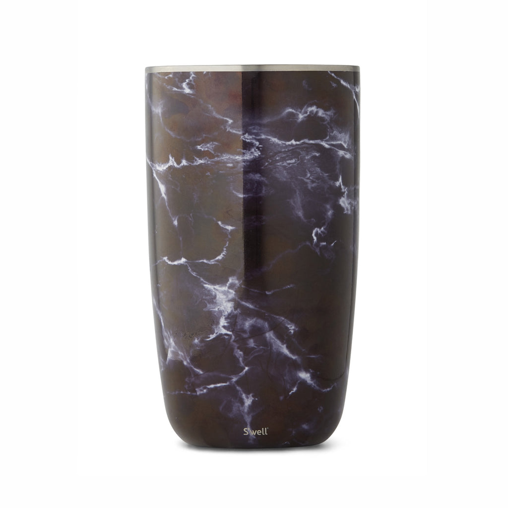 swell black marble insulated wine bottle chiller side view