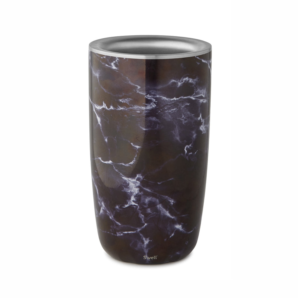 swell black marble insulated wine bottle chiller top view