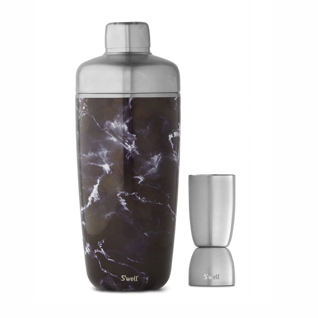 swell black marble shaker set with stainless steel strainer and jigger