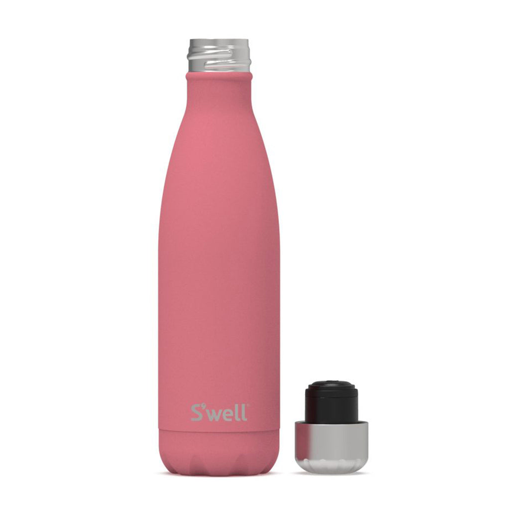 s'well coral reef 17 ounce insulated reusable stainless steel bottle with lid off
