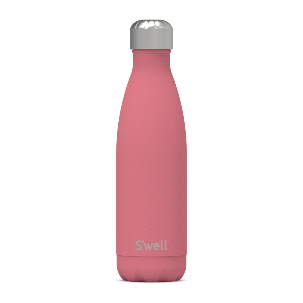 s'well coral reef 17 ounce insulated reusable stainless steel bottle with lid on