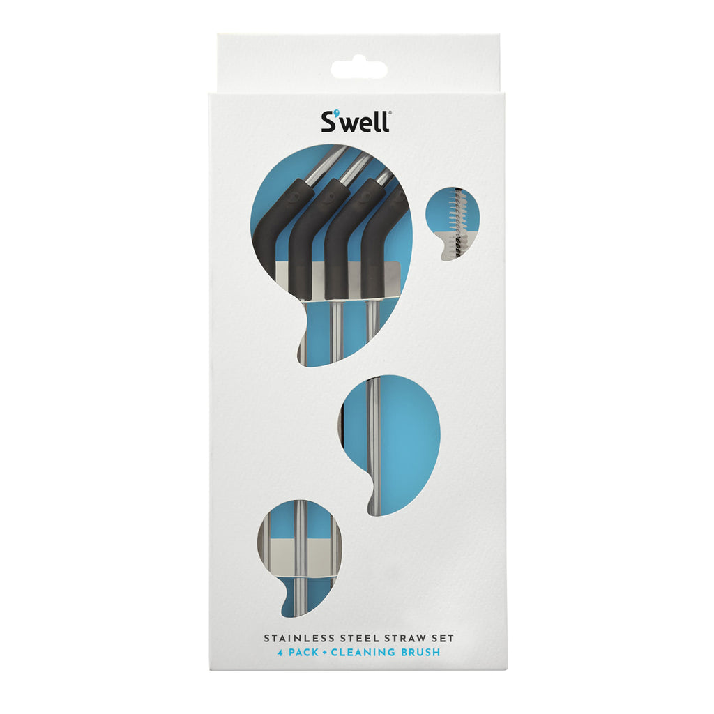 swell stainless steel straw set in packaging