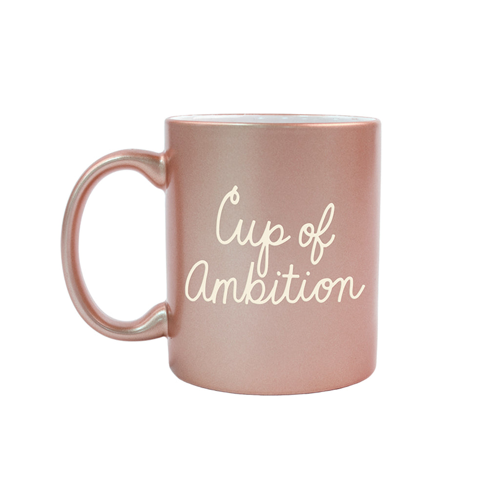 talking out of turn cup of ambition metallic rose gold coffee mug