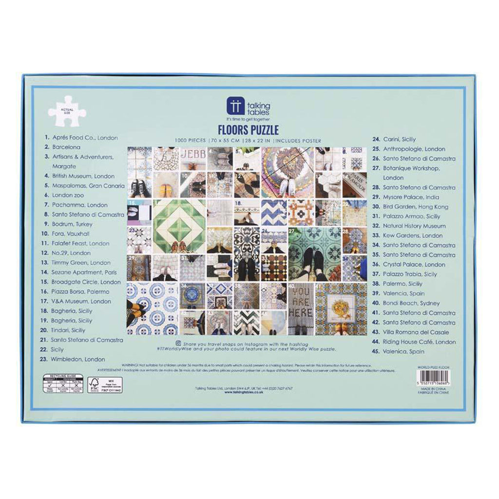 1000 piece worldly wise floors jigsaw puzzle box back