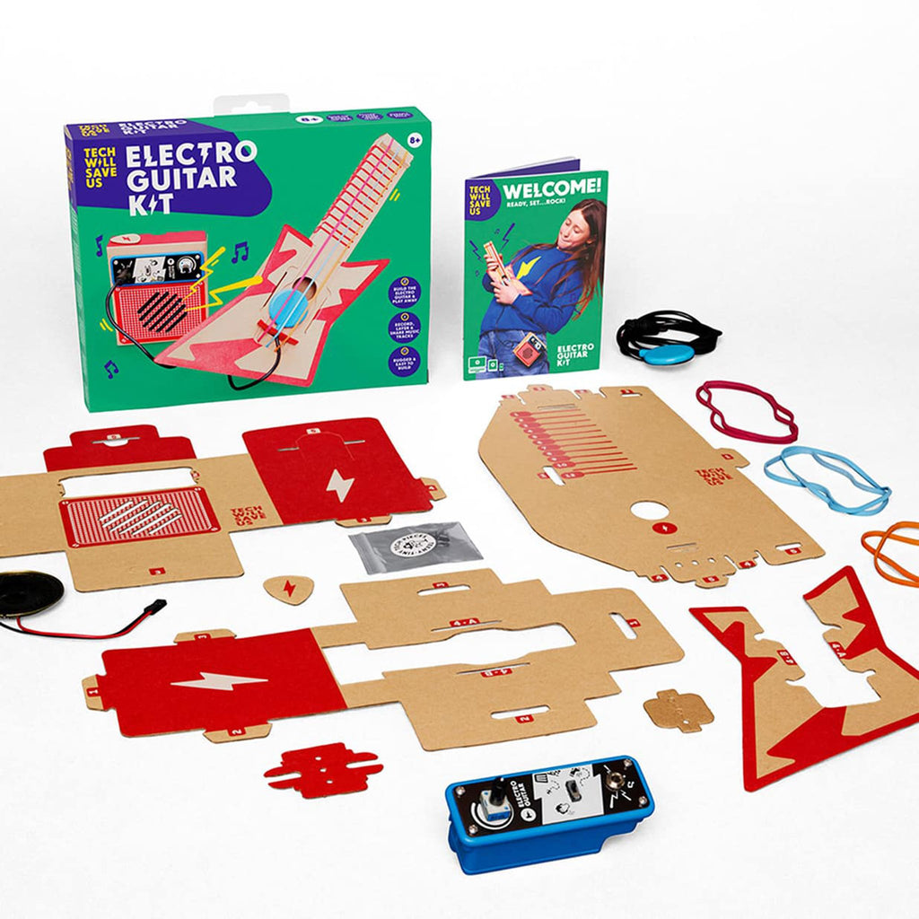 tech will save us electro guitar diy cardboard electric guitar and amp kit box contents