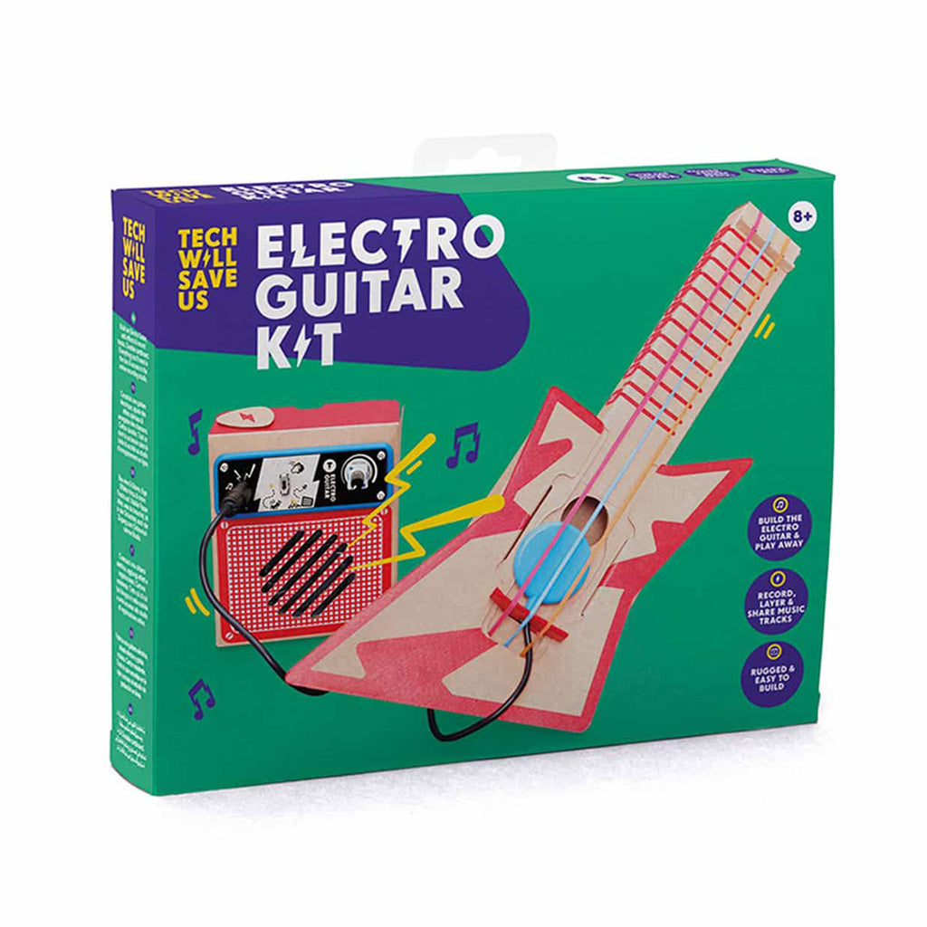 tech will save us electro guitar diy cardboard electric guitar and amp kit box cover
