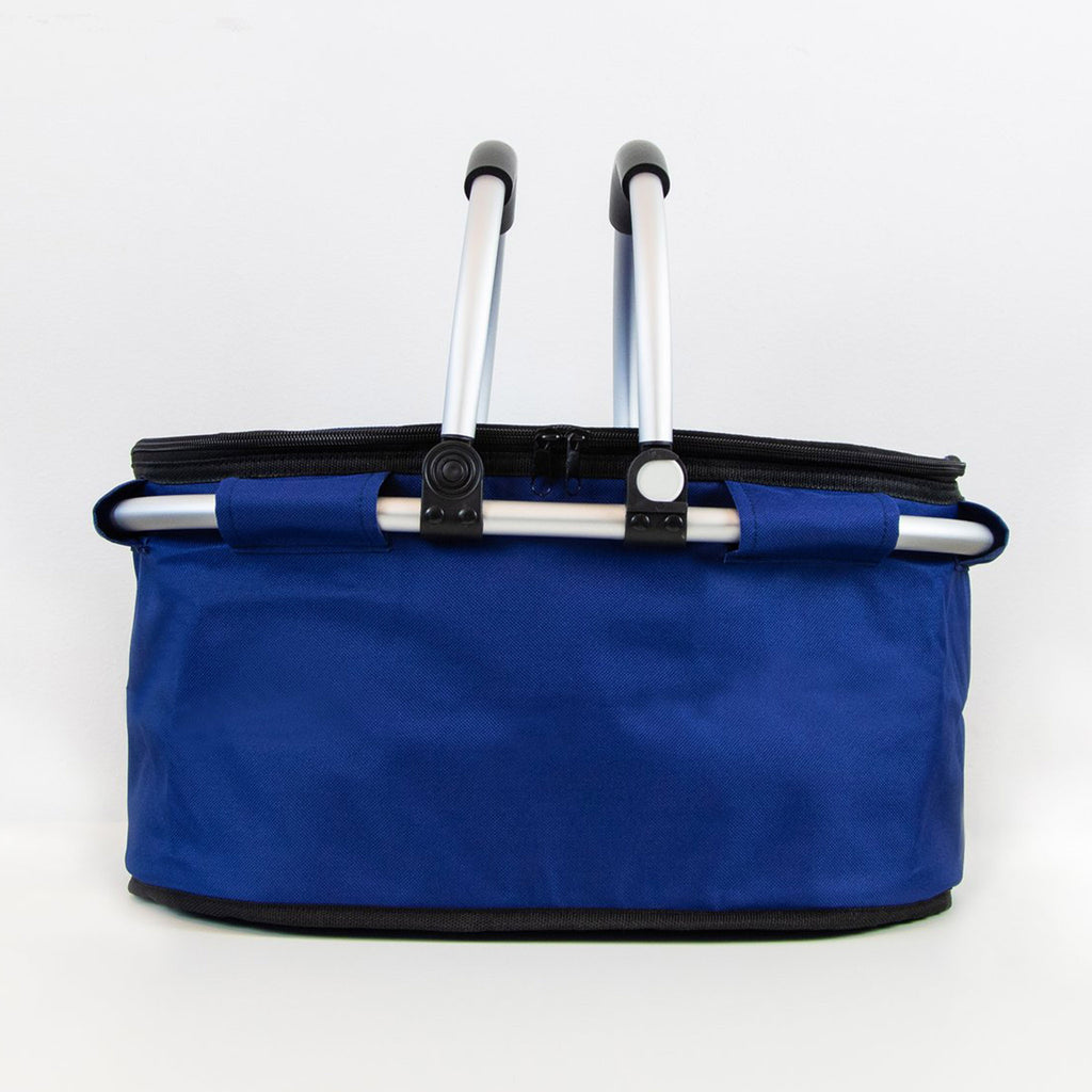 terrera lnbf insulated cooler bag basket in blue with lid closed and handles up front view