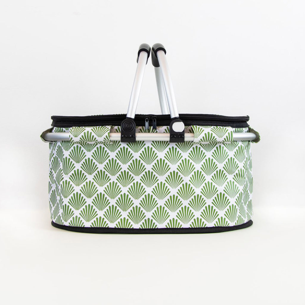 terrera lnbf insulated cooler bag basket with green petal print fabric with lid closed and handles up front