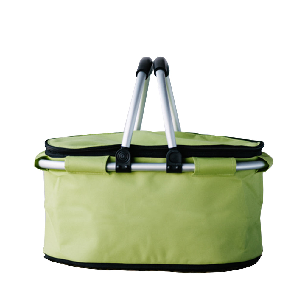 terrera lnbf insulated cooler bag basket in lime green with lid closed and handles up front view