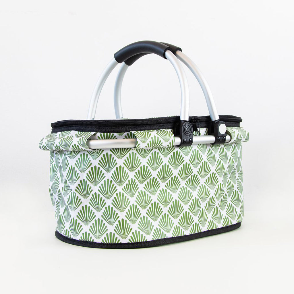 terrera lnbf insulated cooler bag basket with green petal print fabric with lid closed and handles up front angle