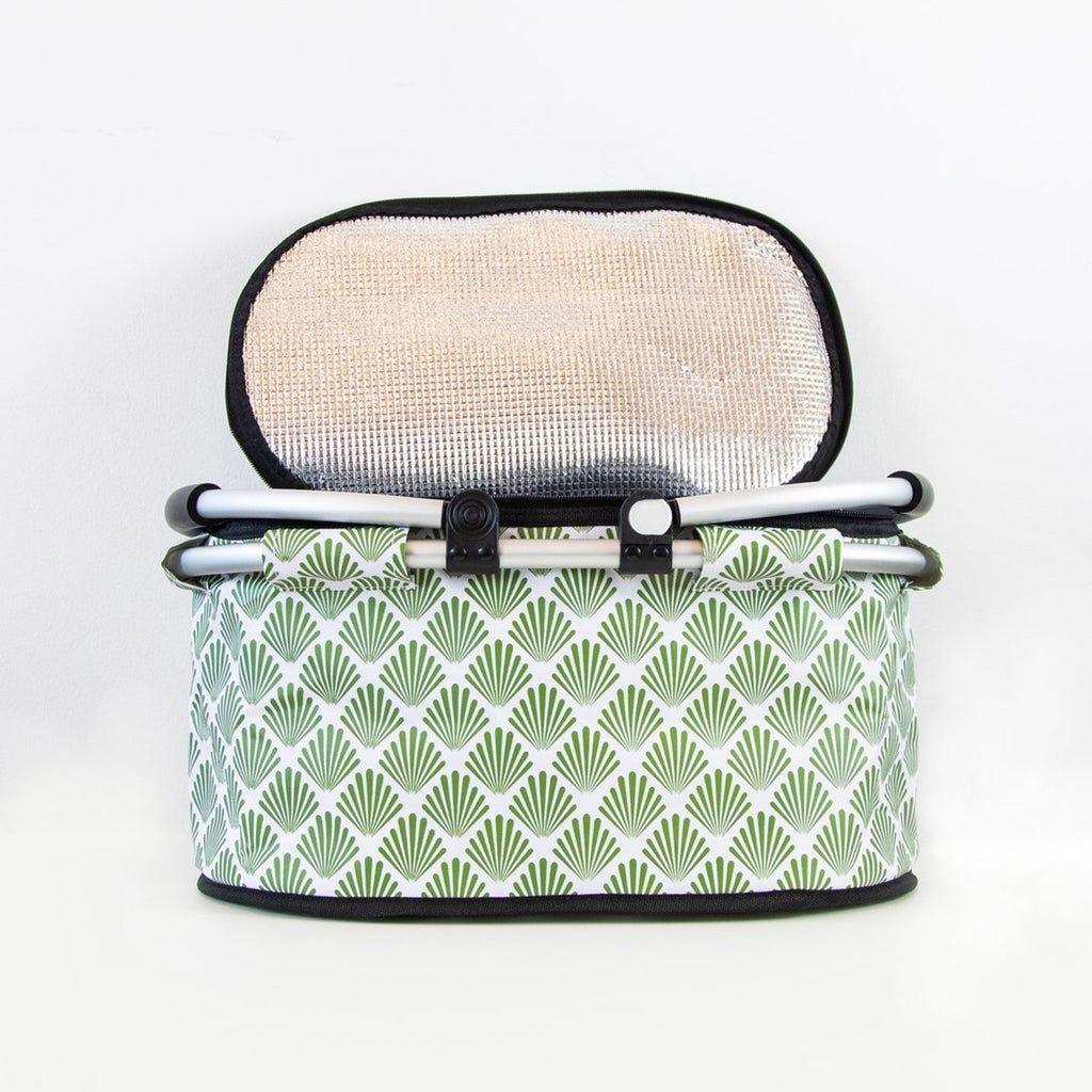 terrera lnbf insulated cooler bag basket with green petal print fabric with lid open and handles down front view