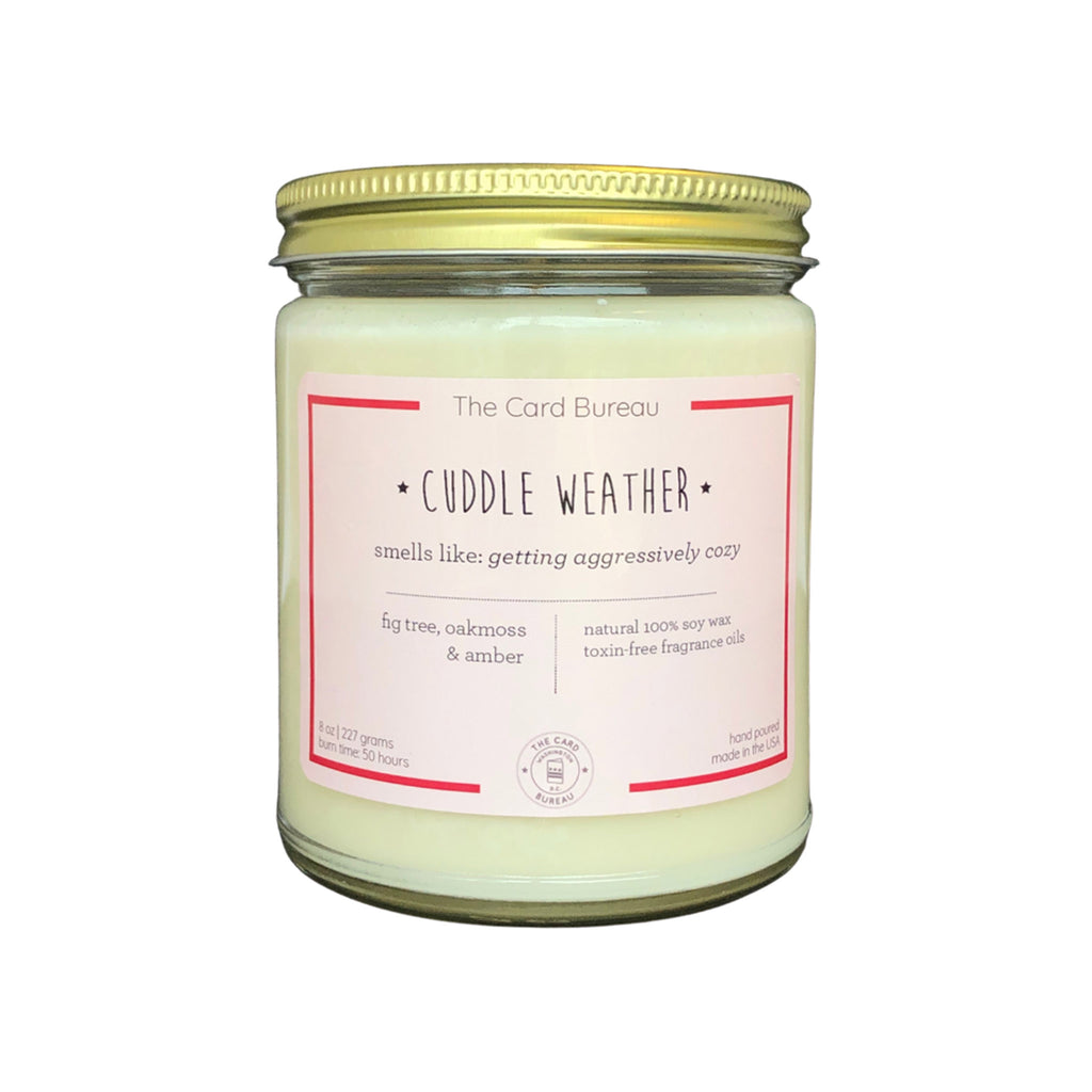 the card bureau cuddle weather 8 ounce scented soy wax candle in glass jar with lid
