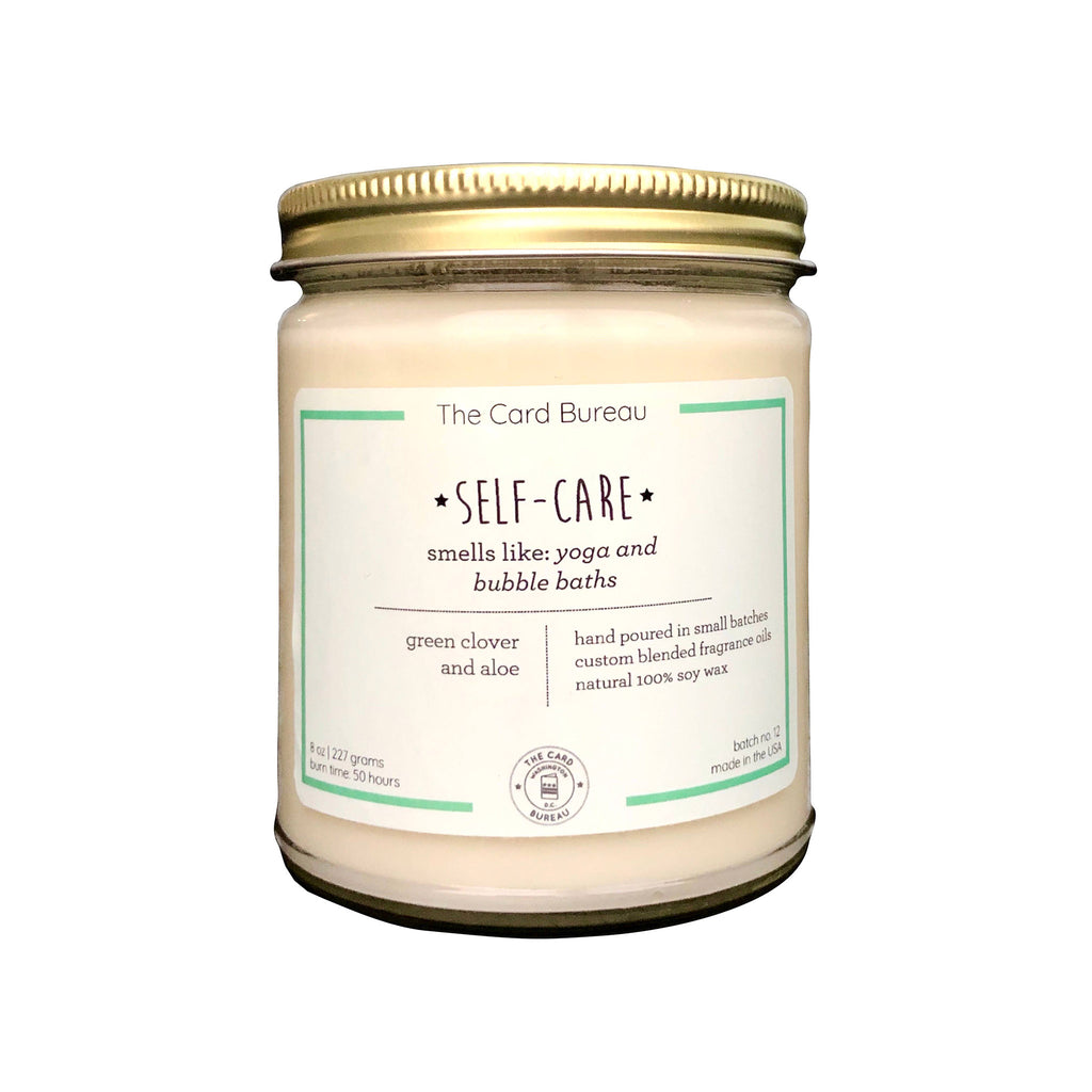 the card bureau self care 8 ounce scented soy wax candle in glass jar with lid