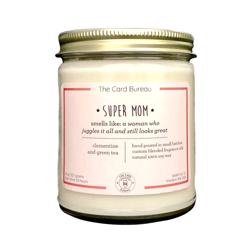 the card bureau super mom 8 ounce scented soy wax candle in glass jar with tin lid