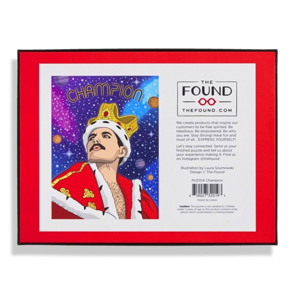 the found 500 piece champion freddie mercury queen family jigsaw puzzle box back