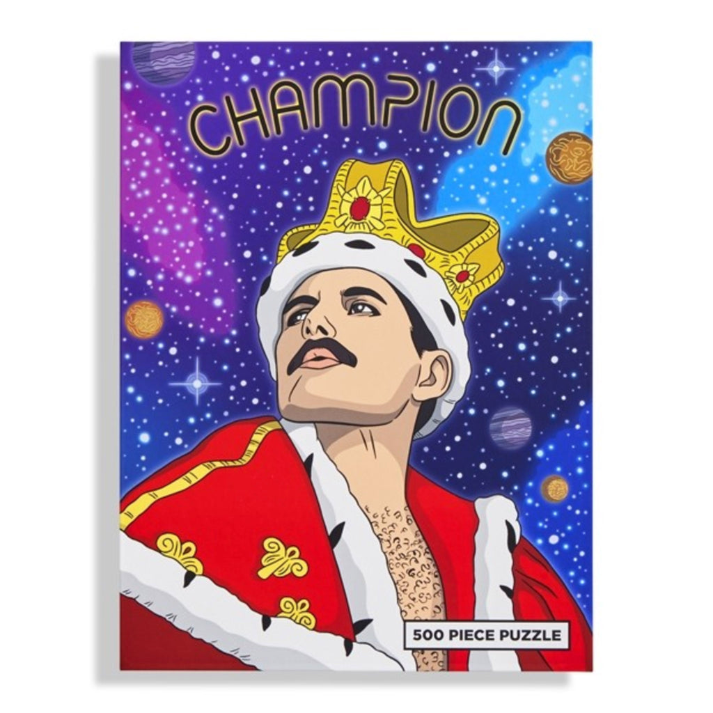 the found 500 piece champion freddie mercury queen family jigsaw puzzle box front