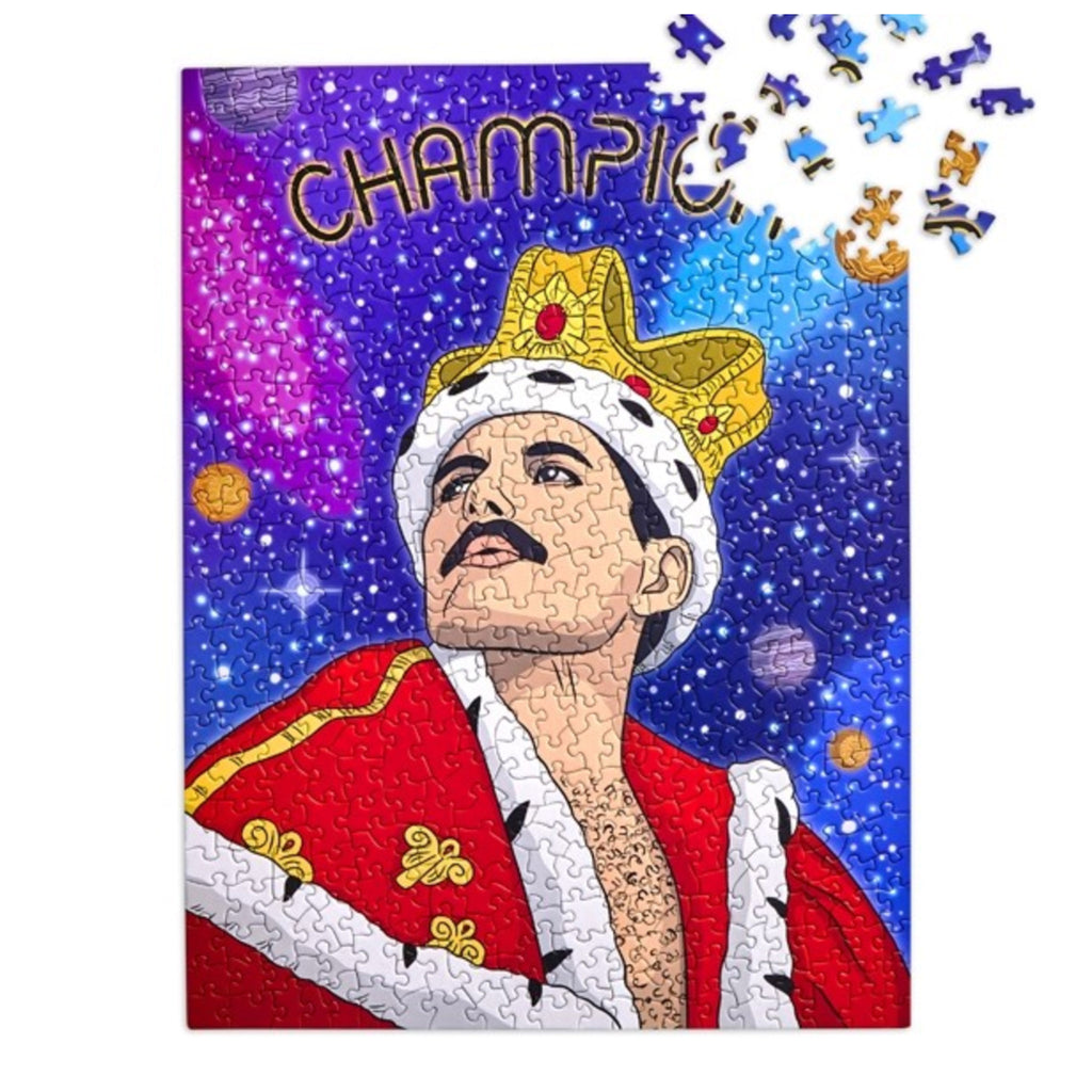 the found 500 piece champion freddie mercury queen family jigsaw puzzle in progress