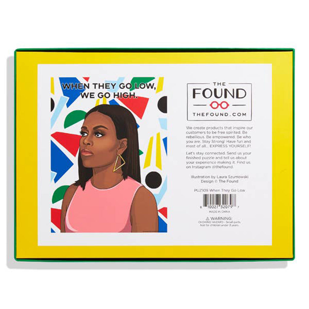 the found 500 piece when they go low we go high michelle obama jigsaw puzzle box back